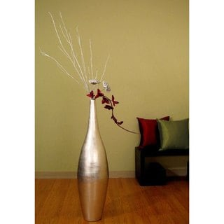Tall Silverleaf Ellipse 41-inch Vase and Floral