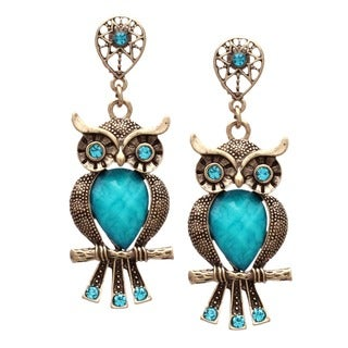 Medium Antiqued Turquoise Crystal Wise Owl Dangle Earrings