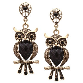 Large Antiqued Black Crystal Wise Owl Dangle Earrings