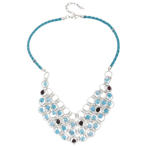 Base Metal Blue Carribean Necklace