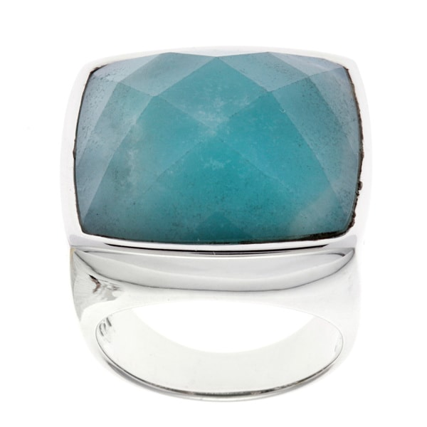 Sterling Silver Faceted Amazonite Ring