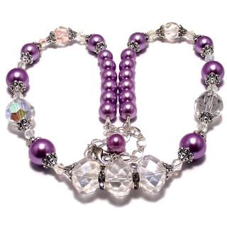 Violet Pearl and Clear AB Crystal Wedding Jewelry Set