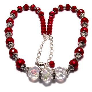 Pearlized Red and Clear Crystal 4-piece Wedding Jewelry Set