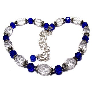 Sapphire Blue and Clear Lucite Crystal 4-piece Wedding Jewelry Set