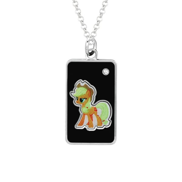 Fine Silver Plated Crystal Crystal Apple Jack Dog Tag My Little Pony Pendant Necklace