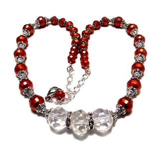 Pearlized Orange and Clear Crystal 4-piece Wedding Jewelry Set
