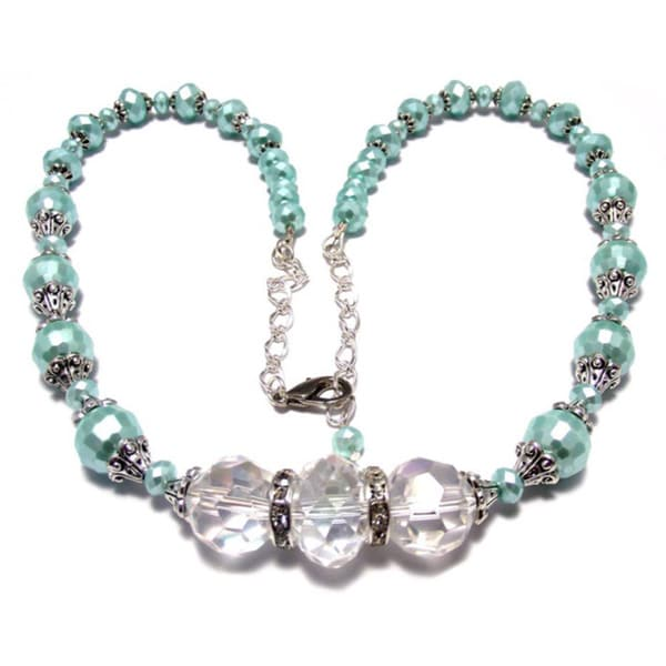 Pearlized Mint Green and Clear Crystal 4-piece Wedding Jewelry Set