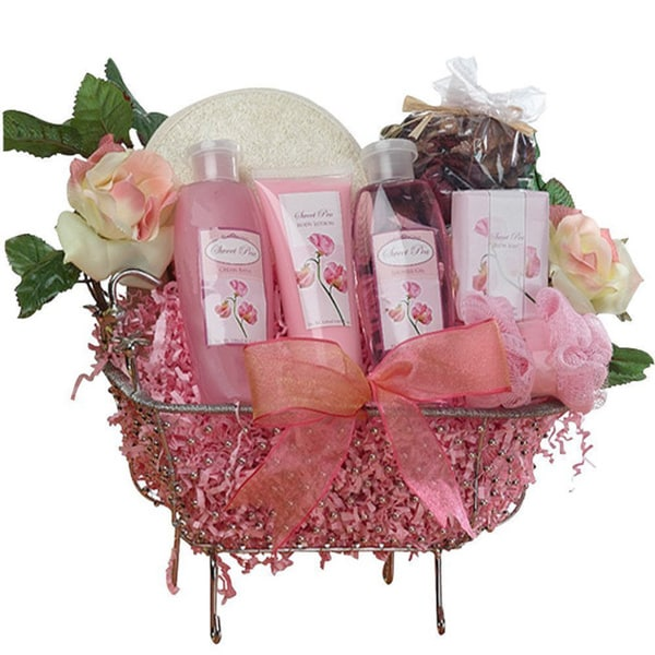 Pretty in Pink Bathtub Spa Bath and Body Gift Basket Set