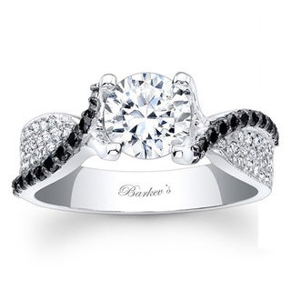 Barkev's Designer 14k White Gold 1 1/8ct TDW Black/ White Diamond Ring (F-G, SI1-SI2)