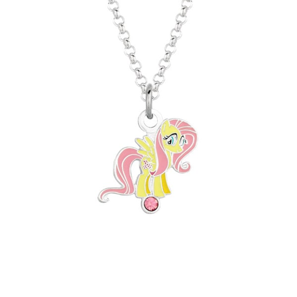 Fine Silver Plated Crystal Fluttershy My Little Pony Pendant Necklace