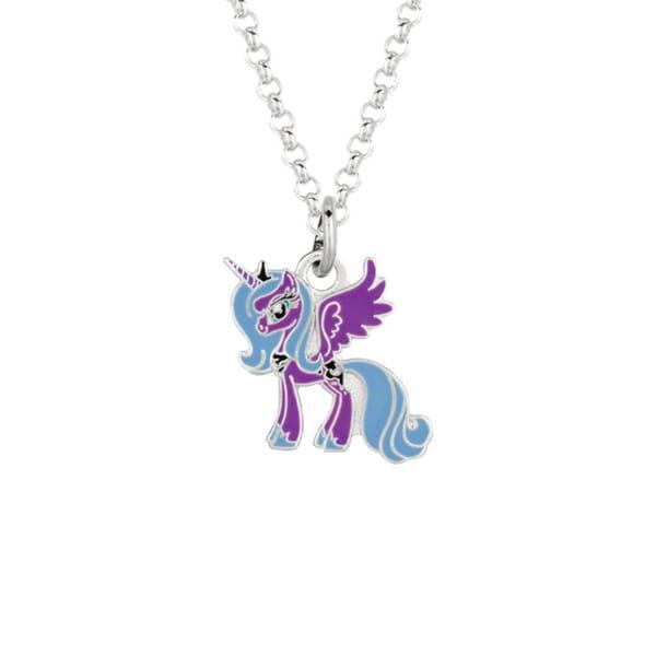 Fine Silver Plated Luna Purple Unicorn My Little Pony Pendant Necklace