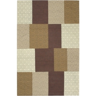 Handmade Collage Brown Wool Viscose Rug (5' x 8')