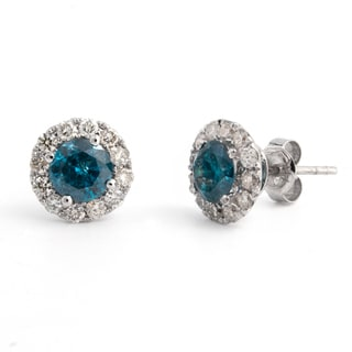 14k White Gold 1 3/4ct TDW White and Blue Diamond Halo Stud Earrings (I-J, I2-I3)