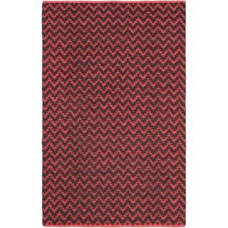 "Handmade Passionata Red Linen Rug (5'1"" x 8')"