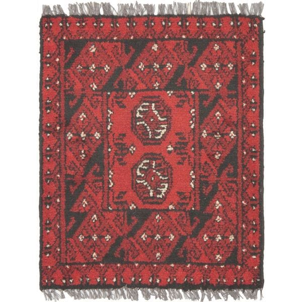 """Hand-knotted Khal Mohammadi Red Wool Rug (1'8""""x 2'0"""")"""