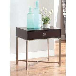 Furniture of America Previ Contemporary Single-drawer Espresso Wood/ Chrome End Table