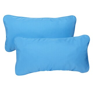 Sunbrella Capri Blue Indoor/ Outdoor 12 x 24-inch Corded Lumbar Pillows (Set of 2)