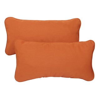 Rust Corded Indoor/ Outdoor 12 x 24-inch Lumbar Pillows with Sunbrella Fabric (Set of 2)
