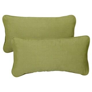 Cilantro Green Corded 12 x 24-inch Lumbar Pillows with Sunbrella Fabric (Set of 2)