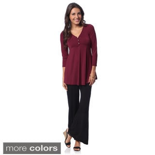 24/7 Comfort Apparel Women's Long Sleeve 3-button Tunic Top with Bonus Palazzo Pants