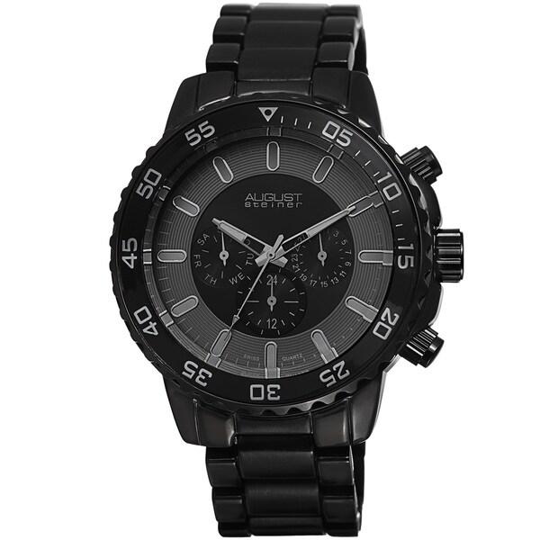 August Steiner Men's Swiss Quartz Multifunction Black Bracelet Watch 12721955