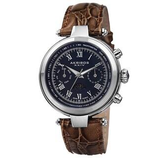Akribos XXIV Men's Swiss Quartz Multifunction Tachymeter Leather Strap Watch