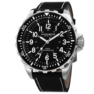 Akribos XXIV Men's Swiss Quartz Rotating Bezel Leather Black Strap Watch