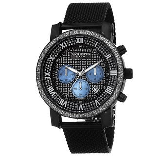Akribos XXIV Men's Chronograph Sparkling Pave Dial Mesh Strap Watch