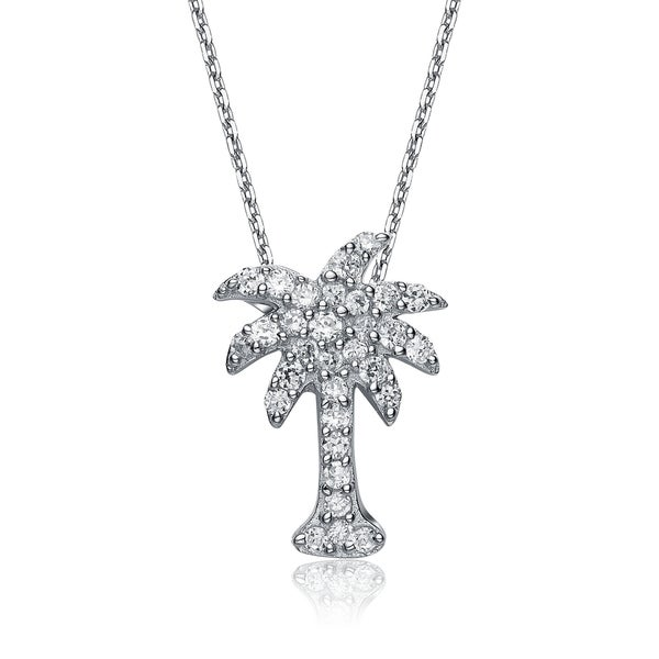 Collette Z Sterling Silver Cubic Zirconia Palm Tree Necklace 12722013