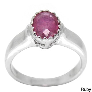 De Buman Sterling Silver Natural Ruby or Sapphire Solitaire Ring