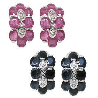 De Buman Sterling Silver Ruby or Sapphire and Cubic Zirconia Earrings