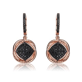 Collette Z Rose and Black Plated Sterling Silver Cubic Zirconia Dangling Earrings