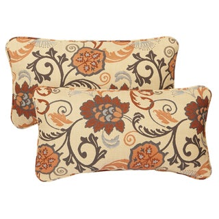 Beige Floral Corded Indoor/ Outdoor Lumbar Pillows with Sunbrella Fabric (Set of 2)
