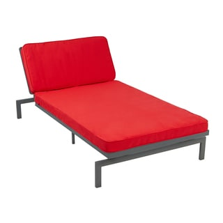 Alyssa Vibrant Red Adjustable Outdoor Chaise with Sunbrella Fabric Cushion