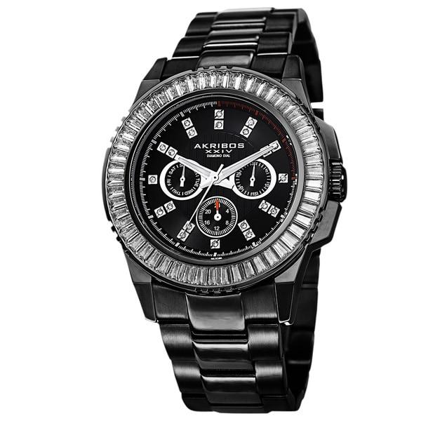 Akribos XXIV Men's Diamond Stainless Steel Black Bracelet Watch 12722041