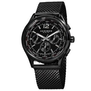 Akribos XXIV Men's Dual-Time Chronograph Mesh Stainless Steel Strap Bracelet