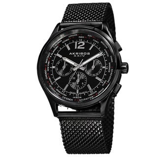 Akribos XXIV Men's Dual-Time Chronograph Mesh Stainless Steel Black Strap Bracelet Watch