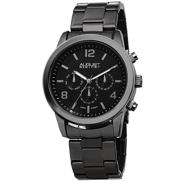 August Steiner Men's Swiss Quartz Multifunction Black Bracelet Watch 12722048