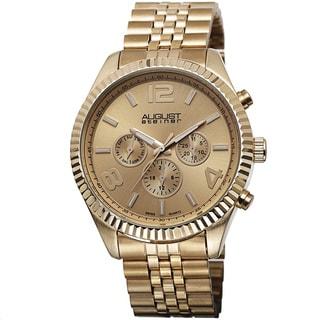 August Steiner Goldtone Stainless Steel Men's Swiss Quartz Multifunction Bracelet Watch