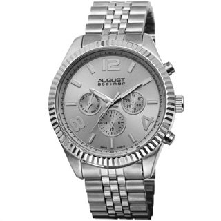 August Steiner Silvertone Men's Swiss Quartz Multifunction Bracelet Watch