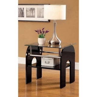Furniture of America Sanzi Contemporary Single-shelf Black Lacquer Base End Table