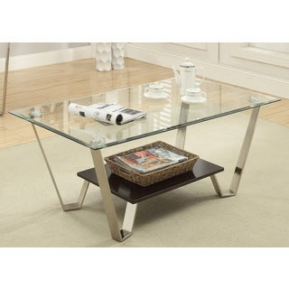 Furniture of America Bilzy Contemporary Tempered Glass Coffee Table