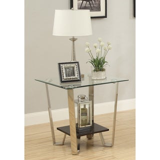 Furniture of America Bilzy Contemporary Tempered Glass End Table