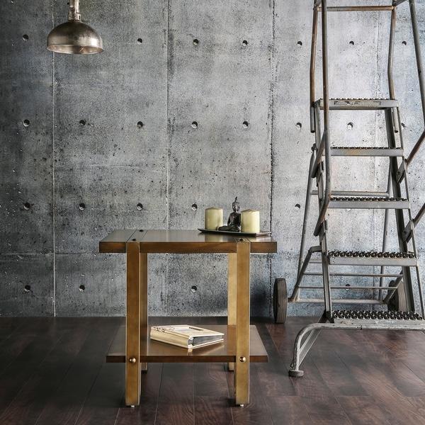 Furniture of America Arbon Dark Oak Rustic Metal End Table