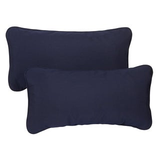 Navy Blue Corded 12 x 24 inch Indoor/ Outdoor Lumbar Pillows with Sunbrella Fabric (Set of 2)