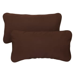 Bay Brown Corded 12 x 24 inch Indoor/ Outdoor Lumbar Pillows with Sunbrella Fabric (Set of 2)