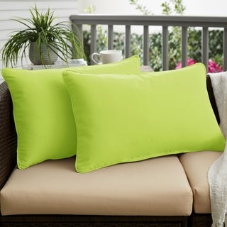 Macaw Green Corded 12 x 24 inch Indoor/ Outdoor Lumbar Pillows with Sunbrella Fabric (Set of 2)