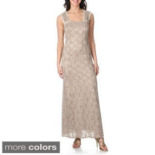 R & M Richards Women's Sleeveless Lace Maxi Dress
