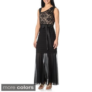 R & M Richards Women's Lace Bodice Pin-tucked Top Dress