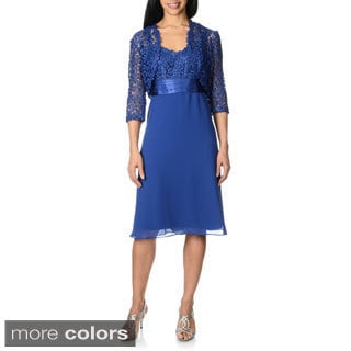R & M Richards Women's Metallic Lace Jacket and Dress Set